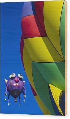 Purple People Eater Smiling Wood Print by Garry Gay