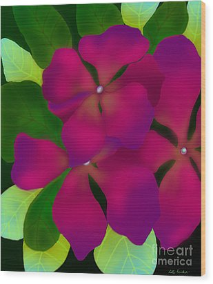 Purple Periwinkles Wood Print