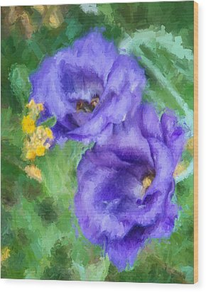 Wood Print featuring the painting Purple Petals by Ike Krieger