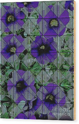 Purple Petunia Abstract Wood Print by Marsha Heiken