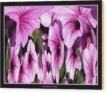 Purple Petunias Abstract Wood Print by Rose Santuci-Sofranko
