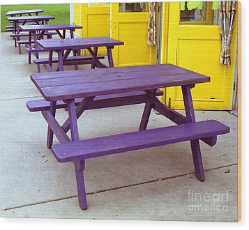 Purple Picnic Tables Yellow Doors Wood Print