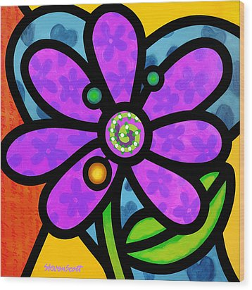 Purple Pinwheel Daisy Wood Print