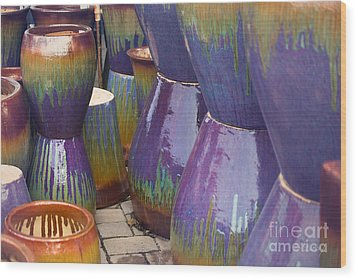 Purple Pots Wood Print
