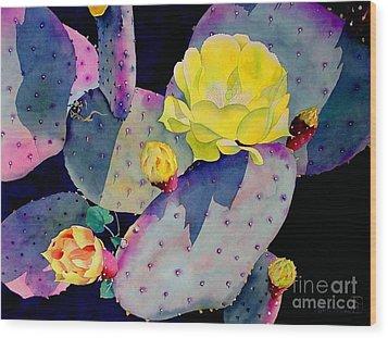 Purple Prickly Pear Wood Print