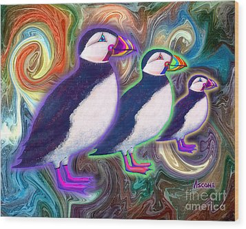 Wood Print featuring the mixed media Purple Puffins by Teresa Ascone