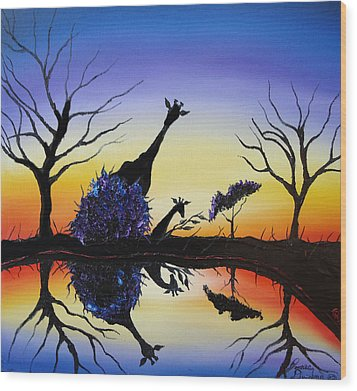 Purple Reflection Of Serengeti Wood Print by Portland Art Creations