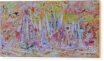 Purple Sailing Wood Print by Lyn Olsen