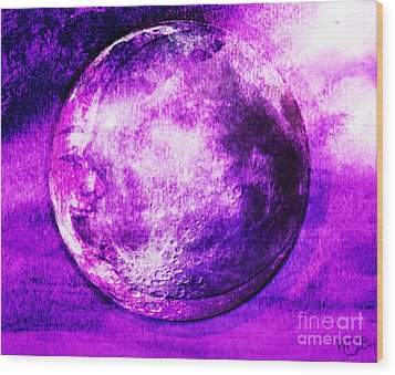 Purple Side Of The Moon Wood Print by Mindy Bench