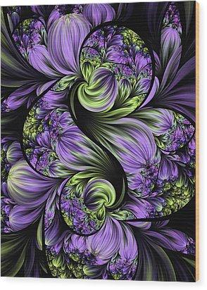 Purple Silk Flowers Wood Print by Lea Wiggins