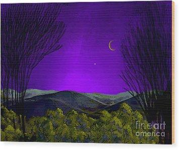 Purple Sky Wood Print by Carol Jacobs