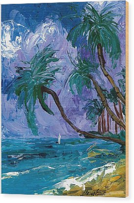 Purple Sky Palms Wood Print