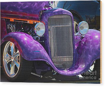 Purple Street Rod Wood Print
