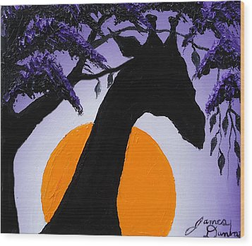 Purple Sun Giraffe Wood Print by Portland Art Creations
