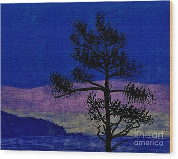 Wood Print featuring the drawing Purple Sunset Bay by D Hackett