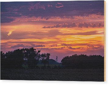Wood Print featuring the digital art Purple Sunset by Dawn Romine