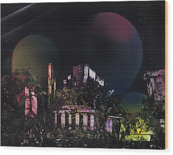Purple Temple Wood Print by Mike Cicirelli