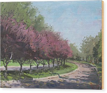 Purple Trees  Wood Print by Ylli Haruni
