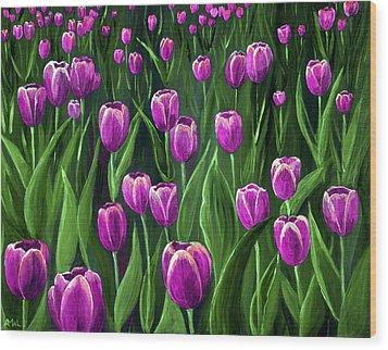 Purple Tulip Field Wood Print by Anastasiya Malakhova