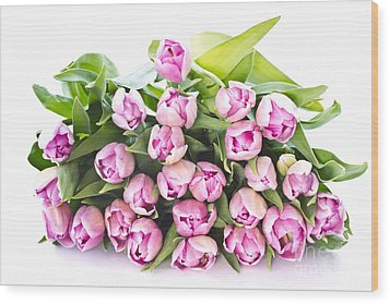 Purple Tulips Wood Print by Boon Mee