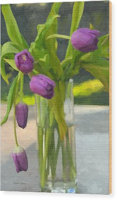 Wood Print featuring the photograph Purple Tulips by Kenny Francis