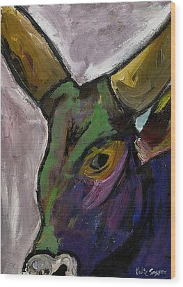 Purple Ugandan Cow Wood Print