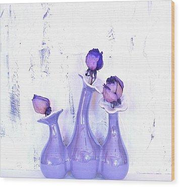 Purple Vases And Roses Wood Print by Marsha Heiken