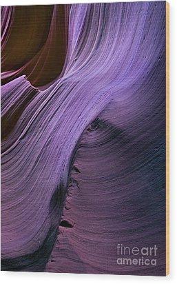 Purple Waves Wood Print by Mike  Dawson