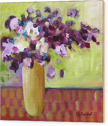 Purple White Flowers In Vase Wood Print by Donna Randall