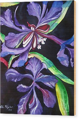 Purple Wildflowers Wood Print by Lil Taylor