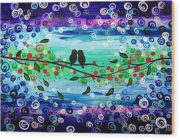 Purple World Wood Print by Mariana Stauffer