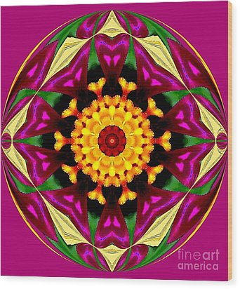 Purple Yellow Flower Orb Wood Print by Annette Allman