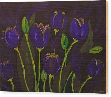 Wood Print featuring the painting Purpleluscious by Celeste Manning