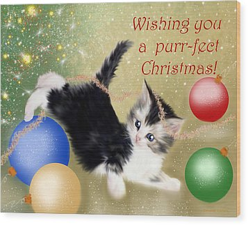 Purr-fect Christmas Greetings  Wood Print