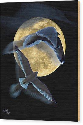 Pursuit Over The Moon. Wood Print by Glenn Feron