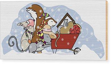 Pushing The Wheelbarrow Wood Print by Christy Beckwith