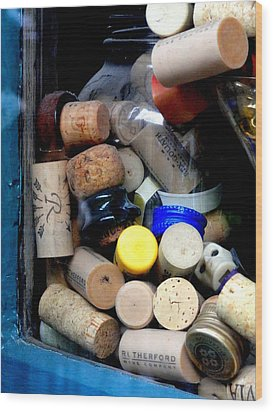 Put A Cork In It Wood Print by Mary Beth Landis