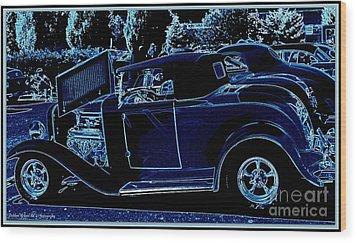 Put The Top Down Wood Print by Bobbee Rickard