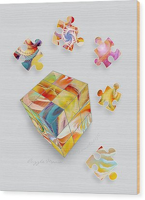 Puzzle Mania Wood Print by Gayle Odsather