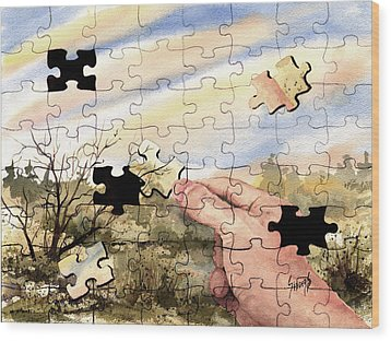 Puzzled Wood Print by Sam Sidders