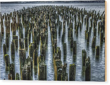 Pylons Wood Print by Rafael Quirindongo