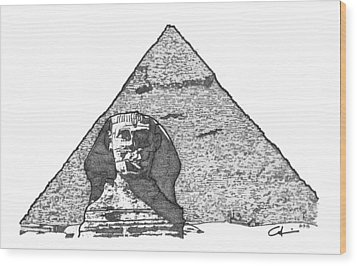 Pyramid And Sphinx Wood Print