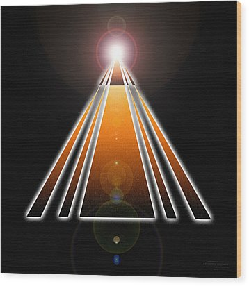 Pyramid Of Light Wood Print by Derek Gedney