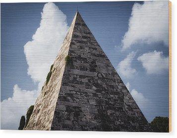 Pyramid Of Rome Wood Print by Joan Carroll