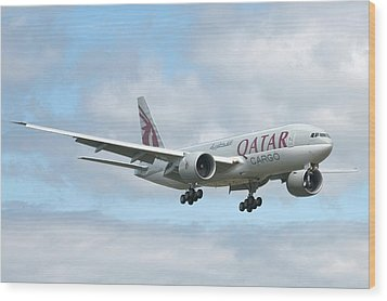 Qatar 777 Wood Print by Jeff Cook
