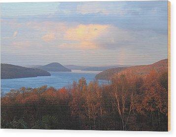Quabbin Reservoir Enfield Lookout Late Foliage Rainbow Wood Print