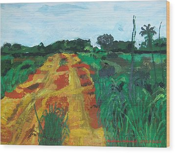 Quagmire To My Village Wood Print by Mudiama Kammoh