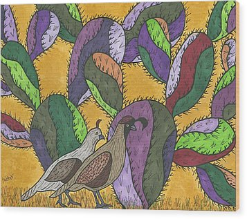 Quail And Prickly Pear Cactus Wood Print