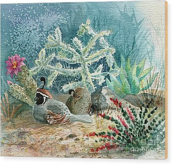 Quail At Rest Wood Print by Marilyn Smith