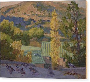 Quail Crossing Wood Print by Jane Thorpe
